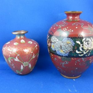 2 cloisonne vaasjes - Japan en China - ca 1900