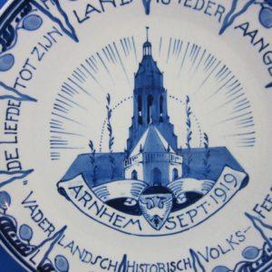 1919 - De Porceleyne Fles - bord Arnhem volksfeest - 1919