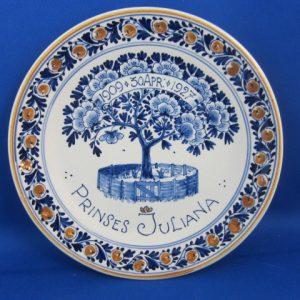 1927 - De Porceleyne Fles - bord met Juliana - 1909-1927