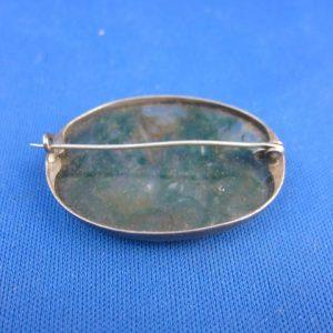 Broche met mosagaat - zilver