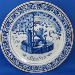 1938 - De Porceleyne Fles - bord Beatrix 1938