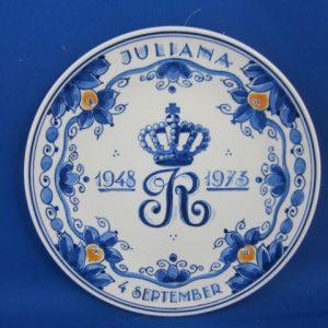 1973 - De Porceleyne Fles - Bord Juliana 1948-1973