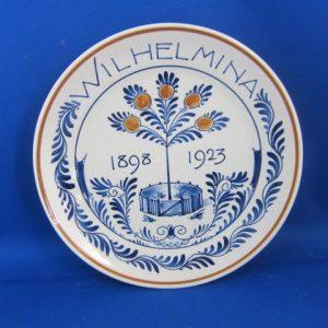 1923 - De Porceleyne Fles bord Wilhelmina 1898-1923