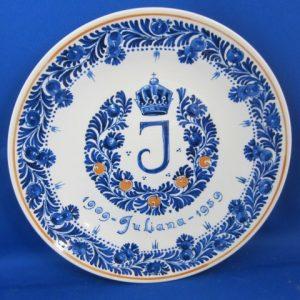 1959 - De Porceleyne Fles - Bord Juliana 1909-1959