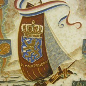 De Porceleyne Fles tegel - Wilhelmina - 1948