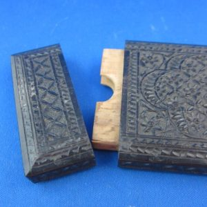 A good antique Anglo Indian black painted wooden calling card case - 19th c
