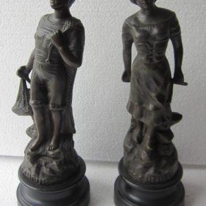 Pendant set legering beelden - Pecheur (visser) - ca 1900