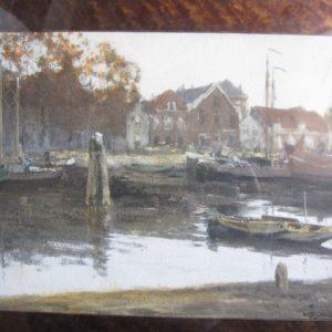 W.G.F. Jansen (1871-1949) - Kade te Den Helder - aquarel